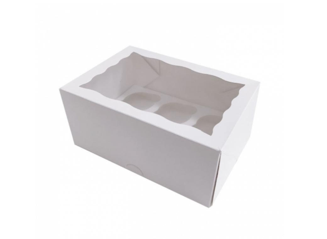 White Cupcake Box 4in 6-Hole