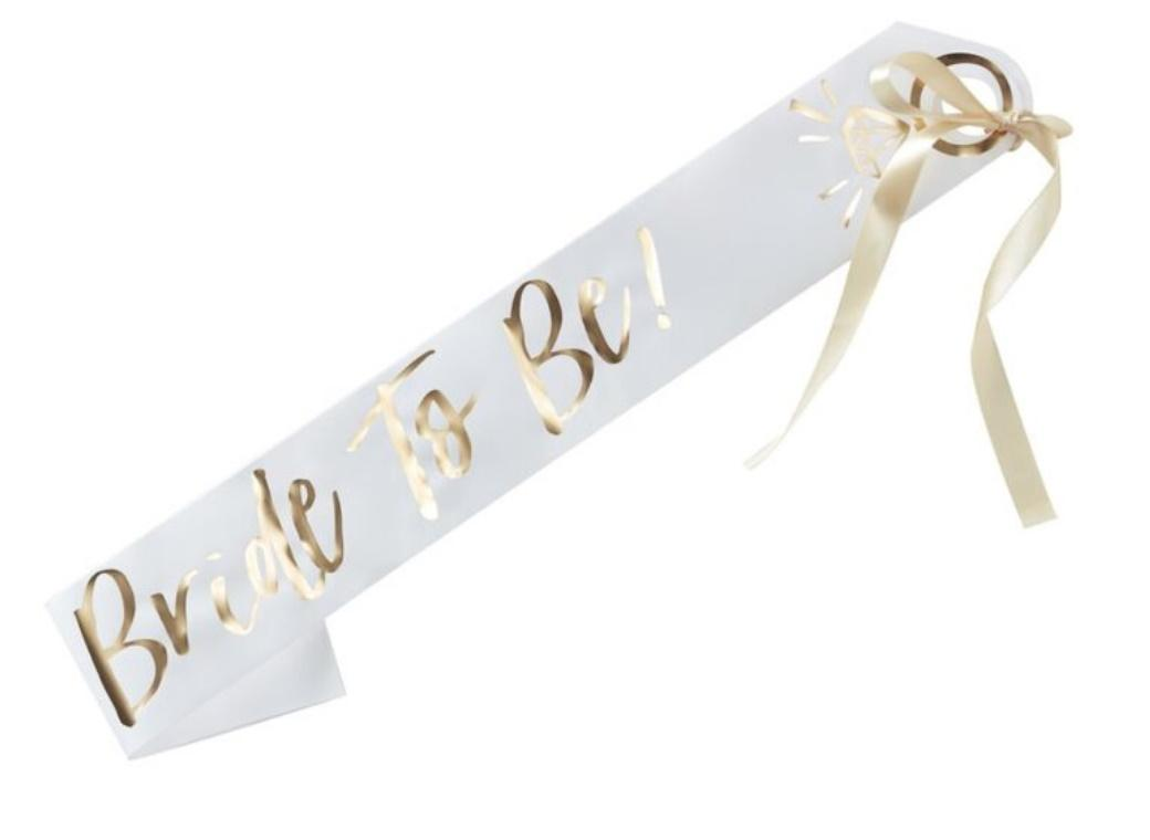White & Gold Bride To Be Sash