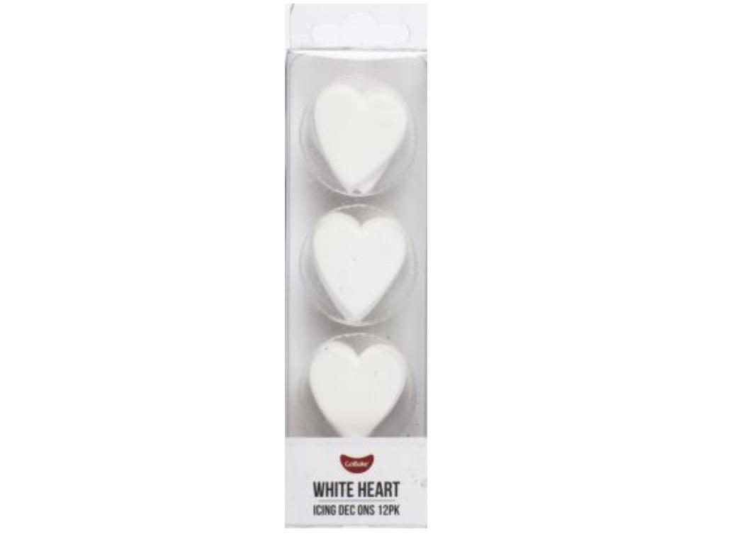Dec Ons White Hearts 12pk