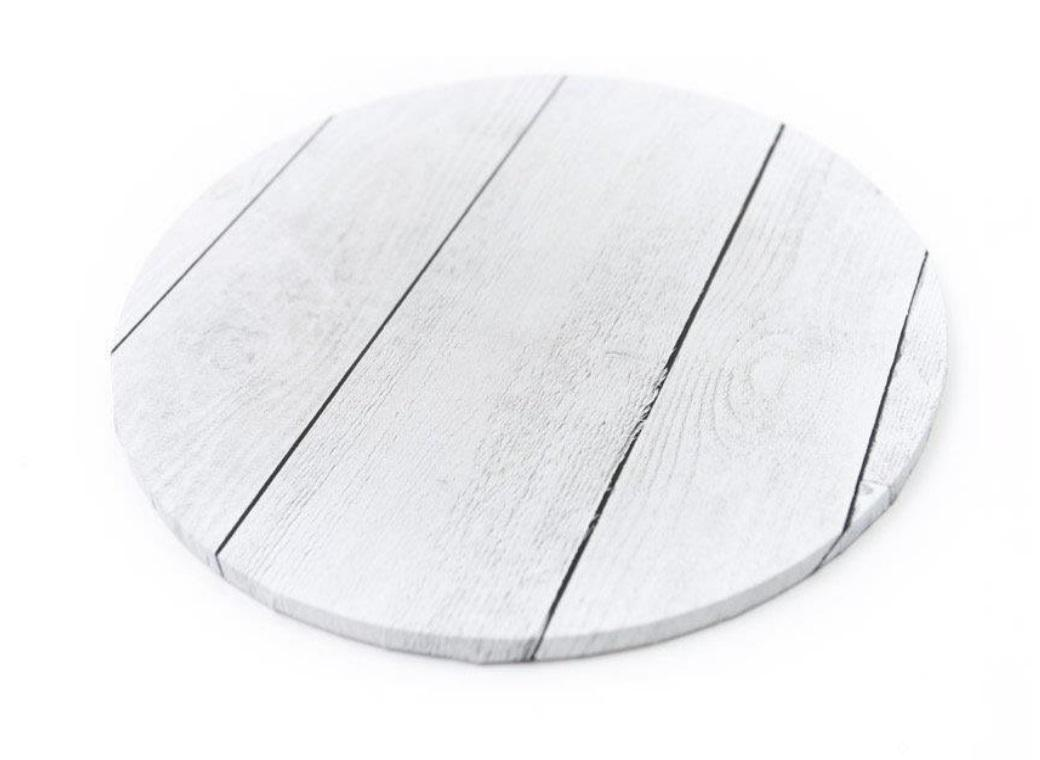 White Planks Masonite Cake Board Round 10""