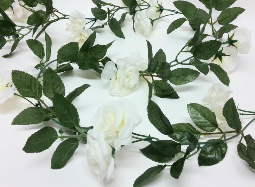 Small White Roses Garland