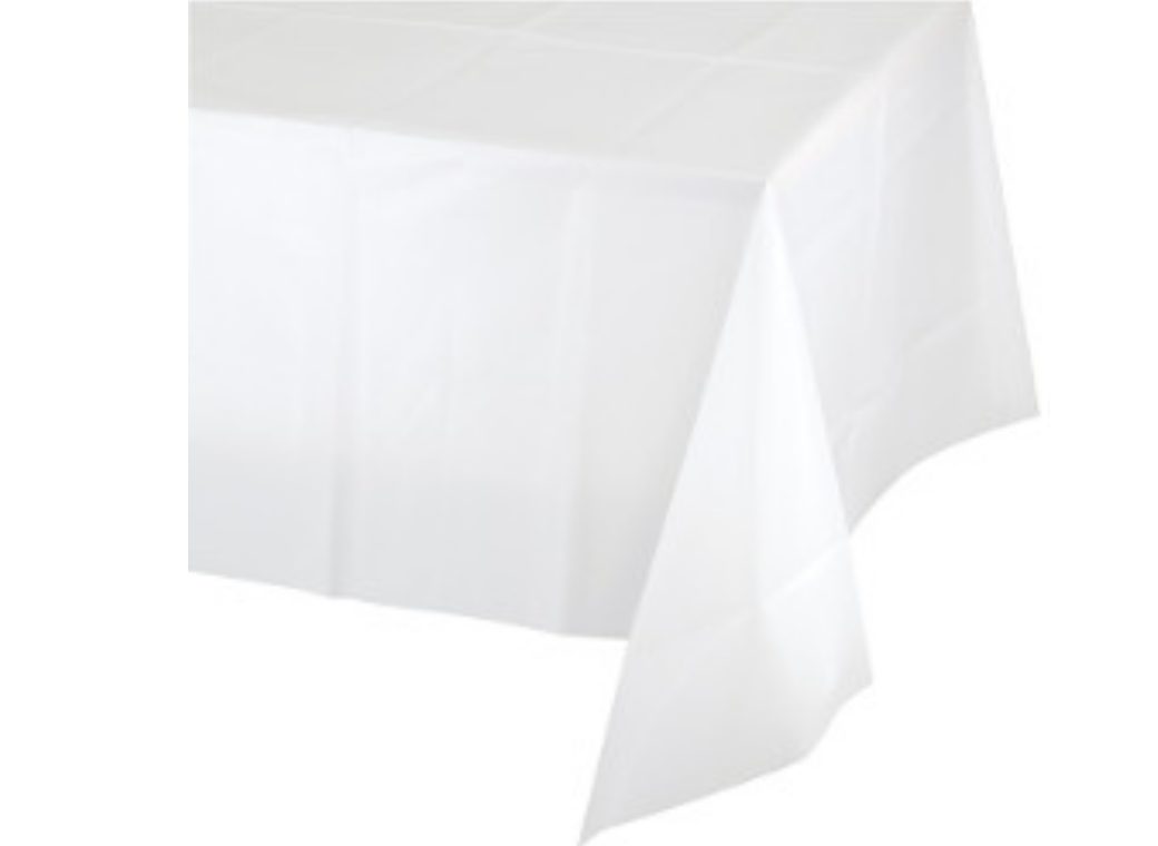 White Plastic Table Cloth