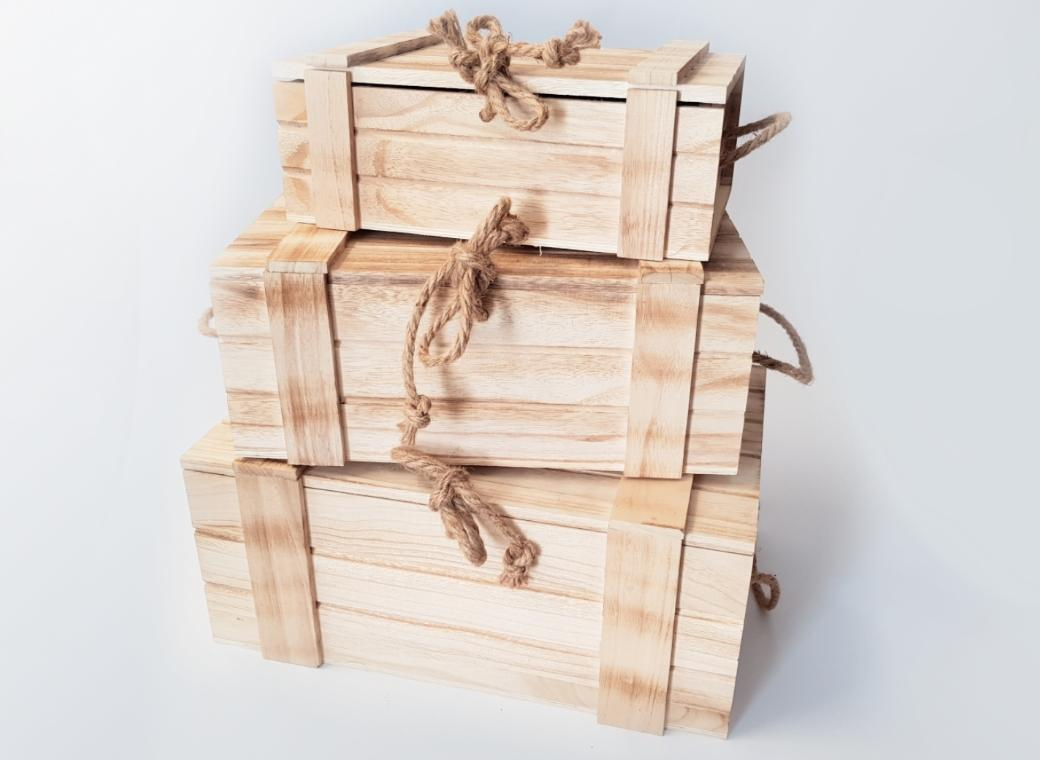 Wooden Crate with Hinged Lid - 3 Sizes