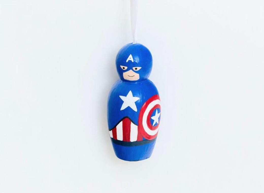 Wooden Hanging Ornament - Captain America