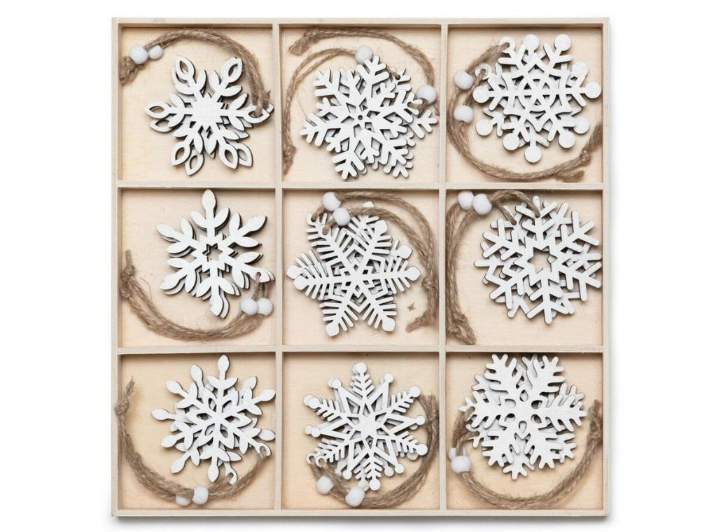 Wooden Hanging Snowflake Decorations 27pce