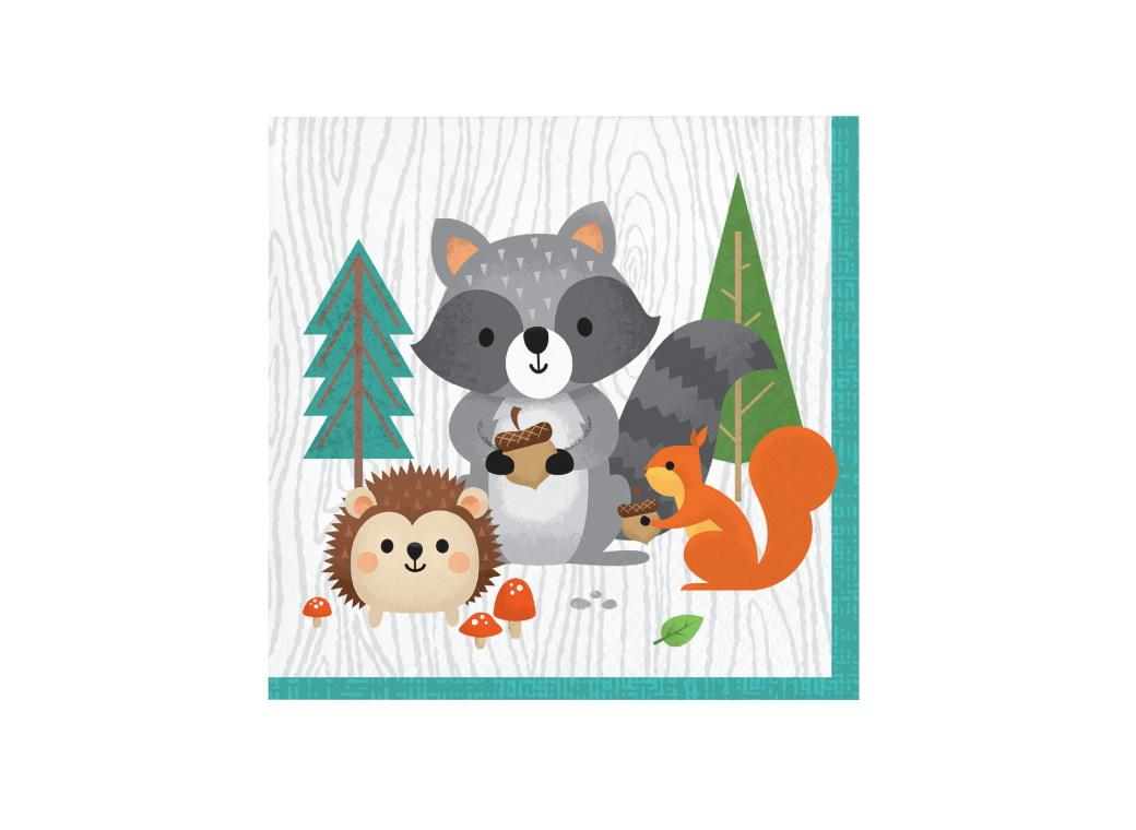 Woodland Animals Beverage Napkins 16pk