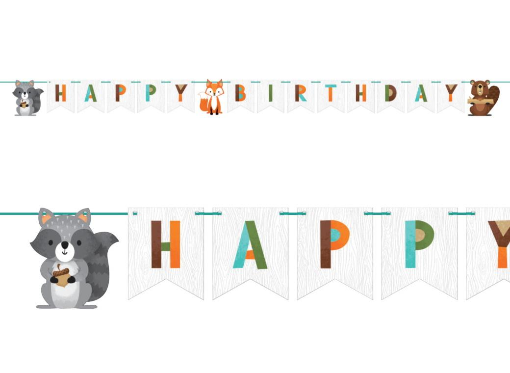 Woodland Animals Happy Birthday Banner