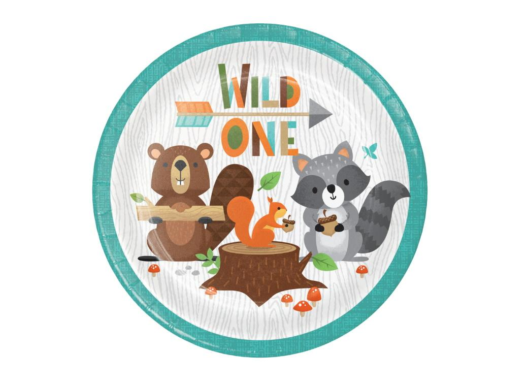 Woodland Animals Wild One Lunch Plates 8pk