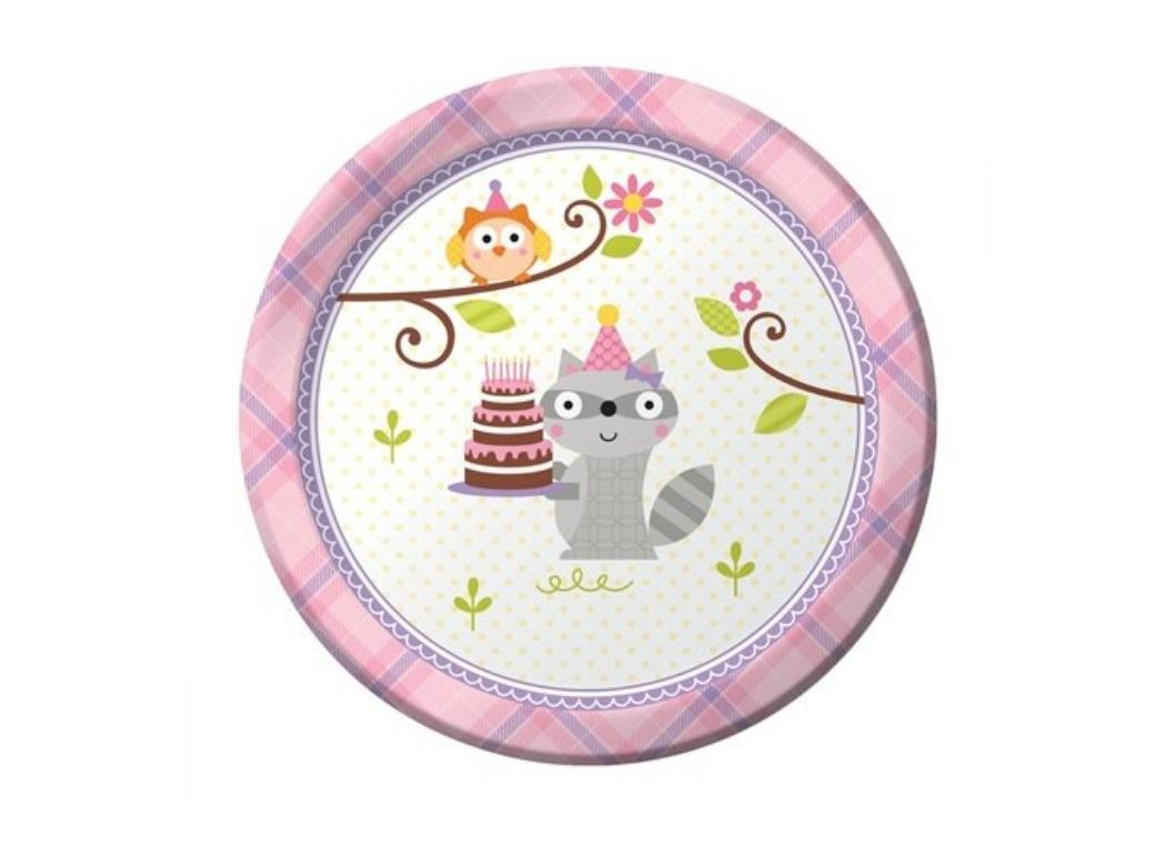 Happi Woodland Girl Lunch Plates 8pk
