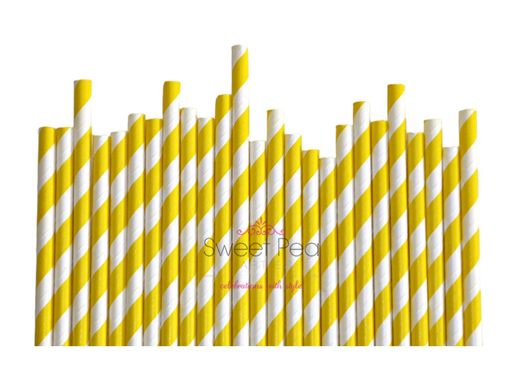 Paper Straws Yellow Stripe 24pk
