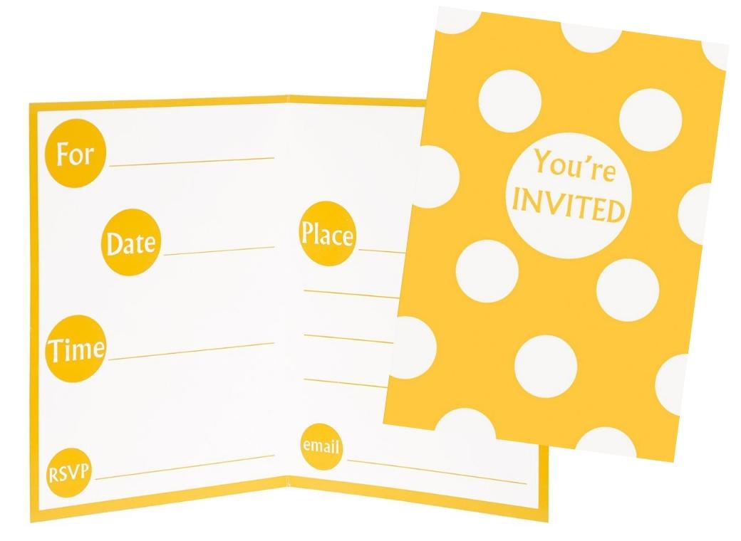 Yellow Polka Dot Invitations - 8pk